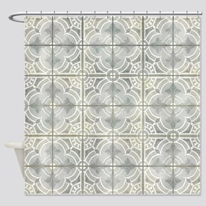 French Vintage Damask Pattern Tile Shower Curtain