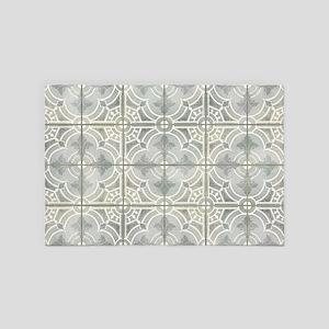 French Vintage Damask Pattern Tile Gre 4' x 6' Rug