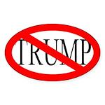 Red Slash Through Trump Oval Bumper Sticker