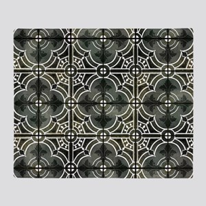 Black n White French Vintage Damask Throw Blanket