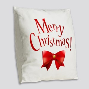 Merry Christmas Greeting Merry Burlap Throw Pillow