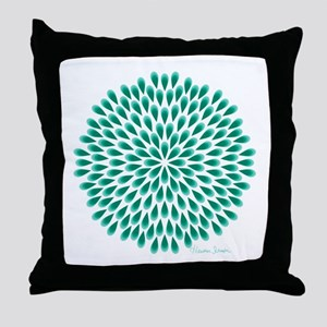 Aqua Peacock Mandala Throw Pillow