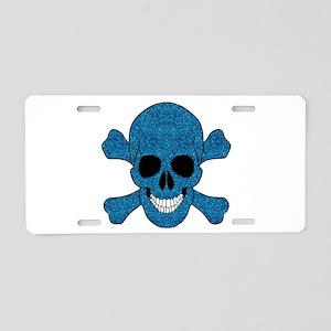 Faux Blue Glitter Skull And Crossbones Aluminum Li