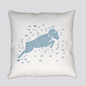 Ram Goat Jumping Watercolor Everyday Pillow