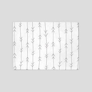 Grey, Fog: Arrows Pattern 5'x7'Area Rug