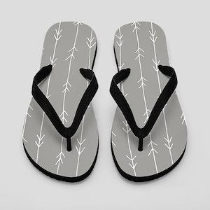 Grey, Fog: Arrows Pattern Flip Flops