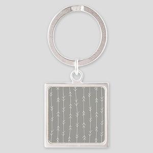 Grey, Fog: Arrows Pattern Square Keychain