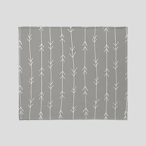 Grey, Fog: Arrows Pattern Throw Blanket