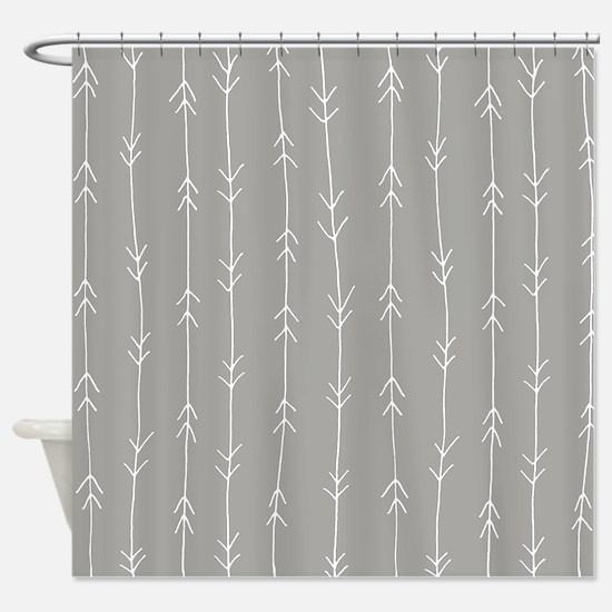 Grey, Fog: Arrows Pattern Shower Curtain