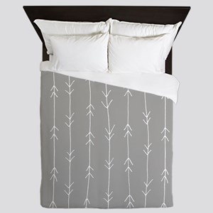 Grey, Fog: Arrows Pattern Queen Duvet