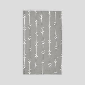 Grey, Fog: Arrows Pattern Area Rug