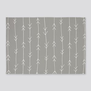 Grey, Fog: Arrows Pattern 5'x7'Area Rug