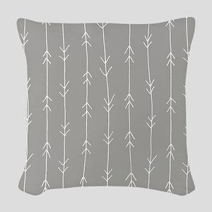 Grey, Fog: Arrows Pattern Woven Throw Pillow