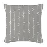 Grey white lines Woven Pillows