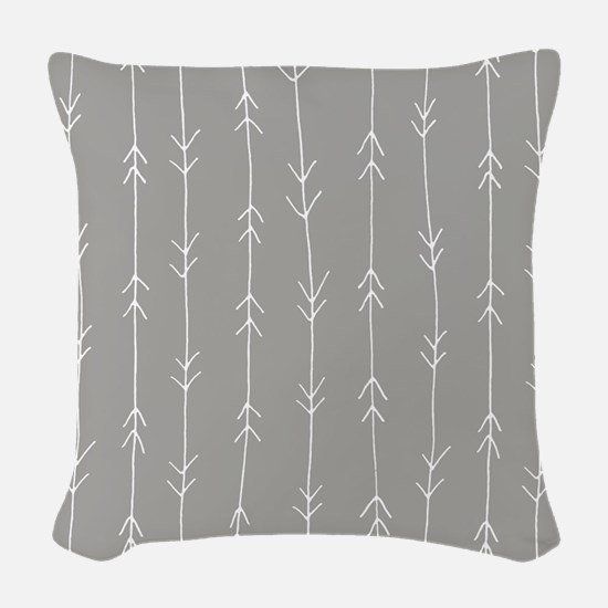 Grey, Fog: Arrows Pattern Woven Throw Pillow