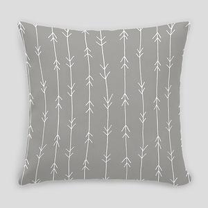 Grey, Fog: Arrows Pattern Everyday Pillow