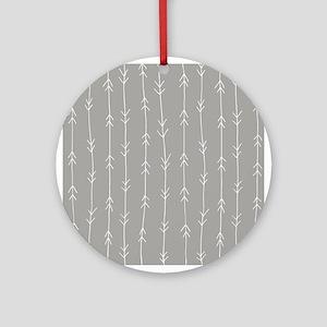 Grey, Fog: Arrows Pattern Round Ornament