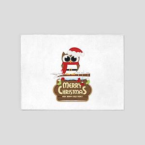 Merry Christmas Owl 5'x7'Area Rug
