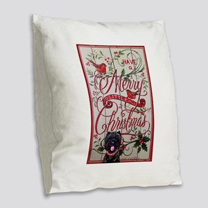 Cairn Terrier Christmas Burlap Throw Pillow