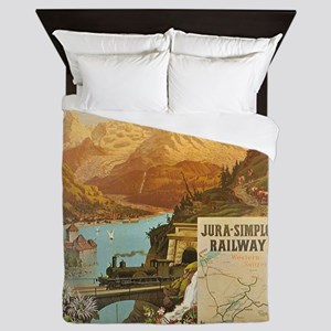 Vintage poster - Switzerland Queen Duvet