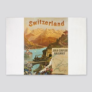 Vintage poster - Switzerland 5'x7'Area Rug