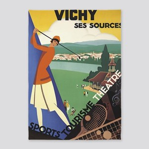 Vichy, France, Vintage Travel Art 5'x7'are