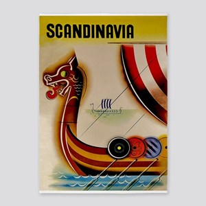 Scandinavia, Viking Ship, Vintage 5'x7'are