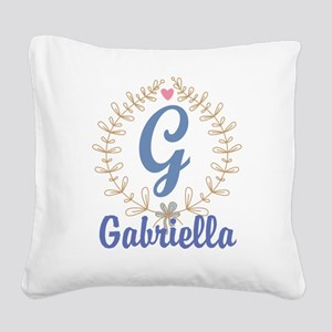 G Monogram Wreath Custom Gift Square Canvas Pillow