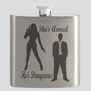 She's Armed He's Dangerous Flask
