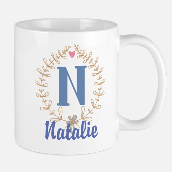 N Monogram Wreath Custom Gift Mugs