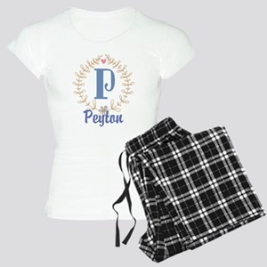 P Monogram Wreath Custom Gift Pajamas