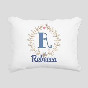 R Monogram Wreath Custom Gift Rectangular Canvas P