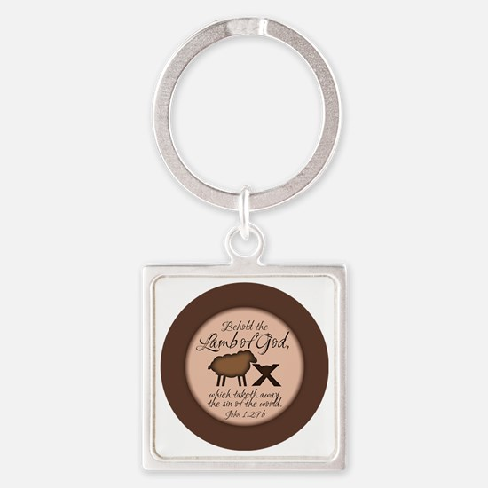 Unique Lamb Square Keychain