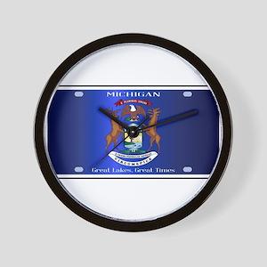 Michigan License Plate Flag Wall Clock