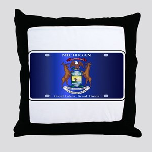 Michigan License Plate Flag Throw Pillow