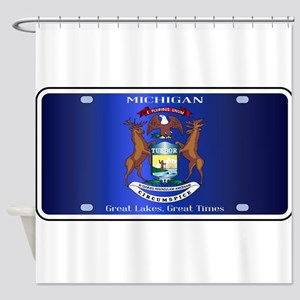 Michigan License Plate Flag Shower Curtain