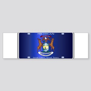 Michigan License Plate Flag Bumper Sticker