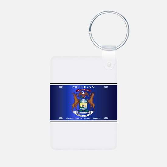 Michigan License Plate Flag Keychains