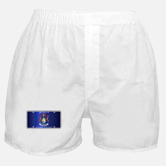 Michigan License Plate Flag Boxer Shorts