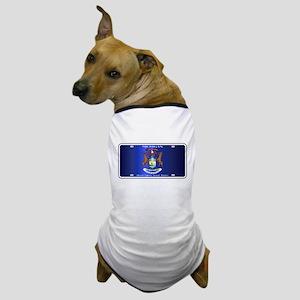 Michigan License Plate Flag Dog T-Shirt