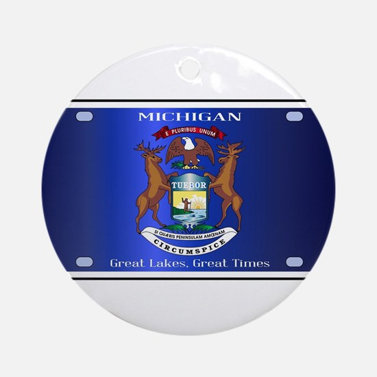 Michigan License Plate Flag Round Ornament