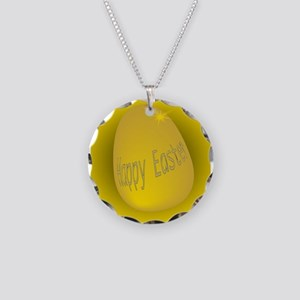 Golden Easter Egg Necklace Circle Charm
