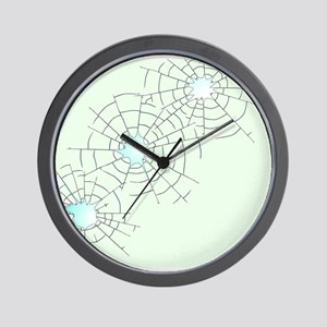 Bullet Holes in Glass Wall Clock