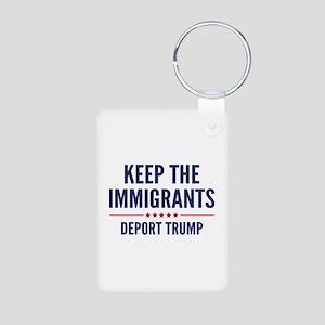 Keep The Immigrants Aluminum Photo Keychain