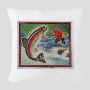 Fishing Woven Throw Pillow