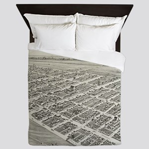 Vintage Pictorial Map of Oklahoma City Queen Duvet