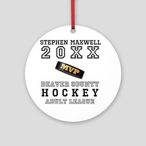 Hockey Puck MVP Name Team Round Ornament