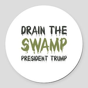 Drain The Swamp Round Car Magnet