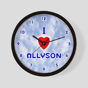 I Love Allyson (Blue) Valentine Wall Clock