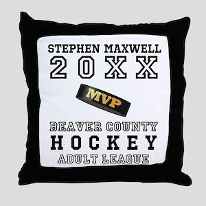 Hockey Puck MVP Name Team Throw Pillow